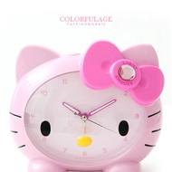 俏皮女孩Hello Kitty凱蒂貓寶石蝴蝶結立體大頭造型貪睡鬧鐘.時鐘 柒彩年代【NE1142】原廠公司貨