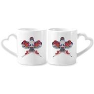 Traditional Chinese Culture Kite Pattern Couple Mugs Ceramic Lover Cups Heart Handle 12oz Gift - intl