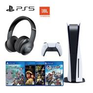 PS5光碟版主機+JBL Everest 300 電競耳機+PS4遊戲片4片【GAME休閒館】