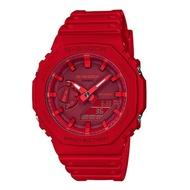 【CASIO 卡西歐】G-SHOCK 雙顯 男錶 橡膠錶帶 紅色 防水200米 GA-2100(GA-2100-4A)