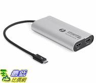 [7美國直購] 適配器 Plugable Thunderbolt 3 to Dual HDMI 2.0 Display Adapter for Thunderbolt 3 Apple Mac