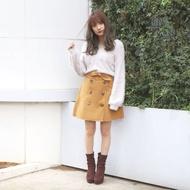 [二手]日本正品 Dazzlin 卡其兔耳朵綁帶風衣感短裙