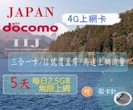 日本網卡 5天12.5GB吃到飽 (單日超過2.5GB降速不斷線) ☆上網卡☆網路卡☆漫遊卡☆旅遊卡☆日本