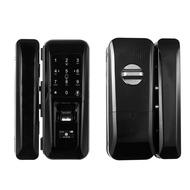 Fingerprint & Touchscreen Smart Lock Digital Lock for Double Open Glass Door Fingerprint Lock Electronic Keyless Touch-screen Door Lock Fingerprint Door Lock for Glass Door