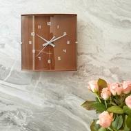 [限時免運] 日式文青掛鐘 (棕色) 時鐘界的LV 日本 Rhythm 機芯 (續秒超靜音) 自然 簡約 現代 文青 北歐風 設計感 木質系質感