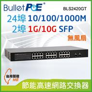 BulletPoE BLS2420GT 24-PORT Gigabit +2-port 1G/10G SFP  Switch 網路交換器
