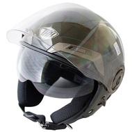 THH勇氣可掀式雙鏡片半罩安全帽T314A-黑白+免洗內襯套6入(12H)