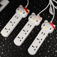 Hello Kitty双USB插座插口接線板插頭 KT猫電源插座延長線