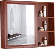 Mirror Cabinets Bathroom Medicine Cabinet With Mirror Bathroom Mirror Cabinet Wall Cabinet Wall Mirror Mirror Jewelry Cabinet (Color : Red-brown, Size : 80 * 70cm)