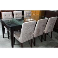 二手。實木。餐桌椅組。一桌六椅