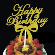 創意金蔥紙雕刻蝴蝶結蛋糕裝飾插牌