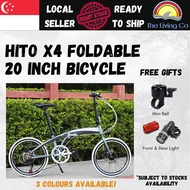 [Free Installation] HITO X4 Foldable Mountain Bicycle 20 Inch 6 Speed Lightweight Compact Foldable Pedal Shimano