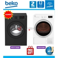 Beko 7kg Front Load WTE7512XA0A + Beko Heat Pump Dryer Package DPS7405XW3/ DHX83420W / DS8433RX1M + GIFT