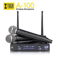 XTUGA audio A-100 2 Channel Cordless Microphone System UHF Wireless Karaoke Microphone System 2 Mic
