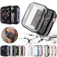 เคสนาฬิกา360 ° สำหรับApple Watch,เคสป้องกันหน้าจอTPUใสแบบนิ่มสำหรับI Watch 4 3 2 1ขนาด42มม. 38มม. 40มม. 44มม. แฟชั่นสีสดใส