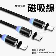 【1M 磁吸充電線】 Micro USB/Type C/Lightning 快充編織充電線/iPhone/Android/HTC/三星/ASUS/華為-ZW