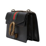 กระเป๋าสะพายไหล่กระเป๋ากระเป๋าถือเอียงฮ่องกงจดหมายโดยตรง GUCCI Gucci Dionysus ไวน์พระเจ้าชุดหนังวัวสีดํากระเป๋าผู้หญิง 400249