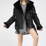 轉賣 全新 vii&co 黑色皮草拉鍊皮革外套