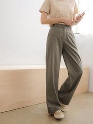 俐落造型腰頭涼感格紋直筒西裝褲