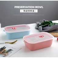 【傑品】(三格)馬卡龍色釉款陶瓷便當盒1000ml分隔餐盒保鮮盒便當盒微波玻璃飯盒陶瓷便當盒