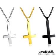 Z.MO鈦鋼屋 白鋼項鍊 倒十字架項鍊 男性項鍊 長項鍊 十字架項鍊 宗教項鍊 單條價【AKS1332】