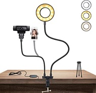 Webcam Light Stand for Live Stream,KINGONE Selfie Ring Light with Webcam Mount and Phone Holder for Logitech Webcams C270,C925e,C922x,C930e,C922,C930,C920,C615,Brio 4K