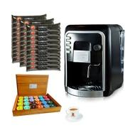 Coffee Italy เครื่องทำกาแฟ รุ่น HAUSBRANDT + แคปซูลกาแฟ 30 แพ็ค (300 แคปซูล) + แก้วกาแฟ 1 ชุด + กล่องไม้สำหรับใส่กาแฟแคปซูล 1 ใบ
