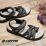 【巷子屋】義大利第一品牌-LOTTO樂得 女款人字紋織帶輕涼鞋 [6170] 黑