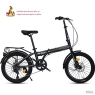 ♨∏Phoenix Folding Bike 20-inch Adult Men s and Women Ultra-light Portable Single Speed Small Wheel Type Off-Road