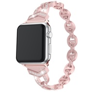 適用蘋果手錶 iWatch5 錶帶鑲鑽 Apple watch 手錶帶 不銹鋼 金屬 女用