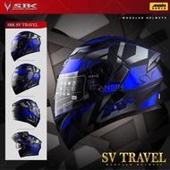[中壢安信]SBK SV TRAVEL 消光黑藍 雙D扣 內襯可拆 內置遮陽片 全罩 安全帽 可樂帽 汽水帽