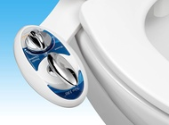 Luxe Bidet Neo 180 - Self Cleaning Dual Nozzle - Fresh Water Non-Electric Mechanical Bidet Toilet Attachment (blue and white)