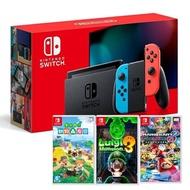 【預購】Nintendo Switch 主機 電光紅藍 (電池加強版)+動物森友會 中文版+瑪利歐賽車 8 豪華版 中文版+ 路易吉洋樓 3 中文版