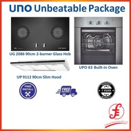 UNO Unbeatable Package UG 2086 Hob and UP 9112 Hood and UPO 63 Built-in Oven