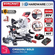 """WORCRAFT CMS-S20LI SOLO CORDLESS MITRE SAW 20V 7 1/2"""" 3600RPM WITHOUT BATTERY & CHARGER (CMSS20LISOLO) (ONE-FOR-ALL FAMILY)"""