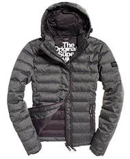 Superdry Mens Double Zip Tweed Fuji Hooded Jacket Grey Marl XS - intl