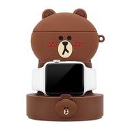 GARMMA LINE FRIENDS Apple Watch Airpods Pro 手機 二合一充電支架 熊大