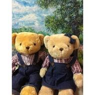 【TEDDY HOUSE 泰迪熊】泰迪熊玩偶公仔絨毛娃娃紅格牛仔泰迪熊對熊大(正版泰迪熊可許願有靈氣好運泰迪熊)