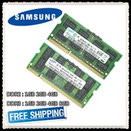 Samsung DDR2 1GB 2GB DDR3 4GB 8GB PC2 PC3 533 667 800 1066 1333MHz 1600MHz 5300 6400 8500 10600 12800 แล็ปท็อปหน่วยความจำ RAM