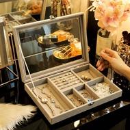 飾品化妝品耳環耳釘收納盒桌面學生便攜飾品盒玻璃防塵大號 桌上收納 飾品收納架 彩妝收納 化妝櫃