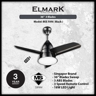 "Elmark BEE FAN 36"" Remote Ceiling Baby Fan with 18W LED BK"