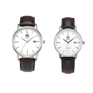 AIBI Couple Watches Set for Lovers Brown Leather Band Quartz with Date