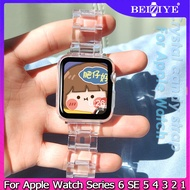 Full Transparent Plastic Strap for Apple Watch Band 44mm 40mm 38mm 42mm Clear Elegant Bracelet Belt Watch Band for apple watch Series 6 SE 5 4 3 2 1 Crystal candy strap