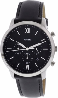 Fossil Men's Neutra FS5452 Silver Leather Japanese Chronograph Dress Watch