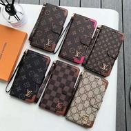 全新現貨 LV手機殼 Gucci手機殼 iPhone手機皮套 帶手繩老花皮套 格子皮套