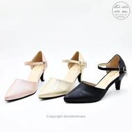 รองเท้าคัชชูรัดส้น รองเท้าออกงาน รองเท้าส้นสูง 2 นิ้ว PENNE รุ่น YN5754 (สีชมพู/ ทอง/ ดำ) ไซส์ 36-40