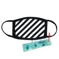 OFF-WHITE 品牌 Diag logo 斜條紋布面口罩(黑) 廠商直送