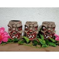 Zombie cement flower pots