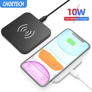 CHOETECH  ที่ชาร์จแบตไร้สาย แท่นชาร์จแบต ชาร์จเร็ว Wireless Charger Pad For Samsung S10 S9 S8 Note 10 9 10W Fast Wireless Charging Pad for iPhone 11 Xs Max Xr X 8 8 Plus【18 month warranty】