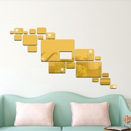 Mirror Wall Stickers 3D Mirror Sticker Geometrical Self-Adhesive Wall Stickers